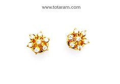 22K Gold Diamond Earrings - DER893 - Indian Jewelry from Totaram Jewelers