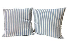 Very cool ticking pillows. Could go cottage or nautical!