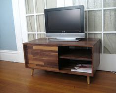 Solid Walnut Mid Century Style Media Console by jeremiahcollection