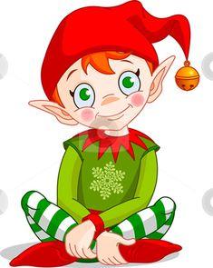 Cartoon Christmas Elves | Christmas_elf stock vector clipart, Christmas Elf sitting - Vector. by ...