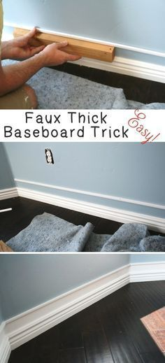 Home Improvement Hacks. – Easy Faux Thick Baseboard Trick – Remodeling Ideas and DIY Home Improvement Made Easy With the Clever, Easy Renovation Ideas. Kitchen, Bathroom, Garage. Walls, Floors, Baseboards,Tile, Ceilings, Wood and Trim. diyjoy.com/…