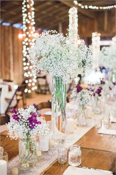 rustic babys breath wedding centerpiece for barn weddings / http://www.deerpearlflowers.com/rustic-barn-wedding-ideas/