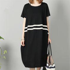 Women cotton summer loose short sleeve dress