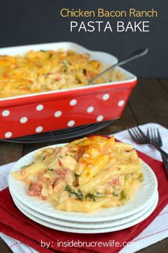 Chicken Bacon Ranch Pasta Bake - chicken and bacon along with two cheeses melted into ranch and pasta will satisfy everyone at the dinner table