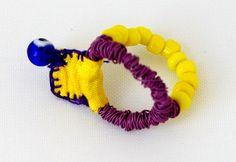 clored wire, glass beads, silk fabric