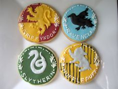 HarryPotter: Gryffindor, Ravenclaw, Slytherin, and Hufflepuff cookies