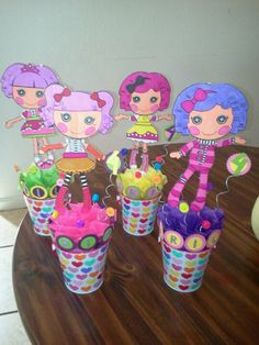 Lalaloopsy center pieces made by yours truly. Hope they inspire some creative ideas for your next lalaloppsy themed party.