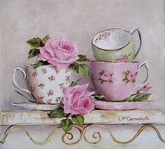 Чашка чая, розы и нежность от Gail McCormack. Обсуждение на LiveInternet - Российский Сервис Онлайн-Дневников