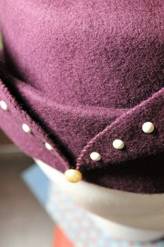 Plum Hand-Stitched Wool Flat Top, Beret Inspired Hat, by Baubles & Whatnots, SOLD
