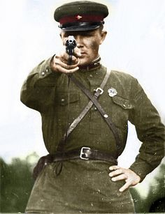 Soviet soldier WWII drew my attention because he's  pointing a gun