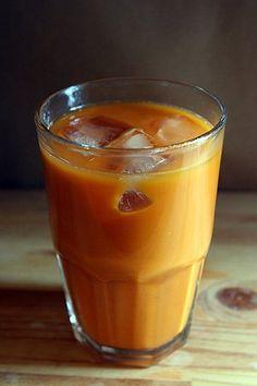 Thai Iced Tea: black tea, tamarind, star anise sugar and condensed mil and/or coconut milk!