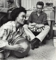 Eartha Kitt & James Dean...I've seen several different pictures of them together and he always seems so engrossed with her. It's really sweet.