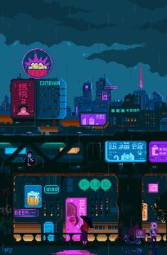 vaporwave neon Using pixel art to construct an aesthetic environment and world. The use of neon colours and imagery creates a futuristic cyber life. Mobile Background, Pixel Art Background, Vaporwave, Arte 8 Bits, Pixel Animation, Japon Illustration, 8bit Art, Cyberpunk City, Pixel Games