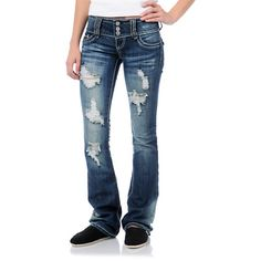 Zumiez Almost Famous Malorie Medium Blue Ripped Bootcut Jeans