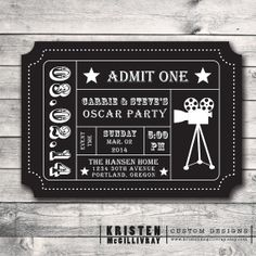 Oscar Party Ticket Invitation- DIY Digital File Printable - Admission Ticket Stub- on Etsy, Hollywood Party, Hollywood Night, Ticket Invitation, Diy Invitations, Movie Party Invitations, Invite, Oscar Party, Movie Night Party, Movie Nights