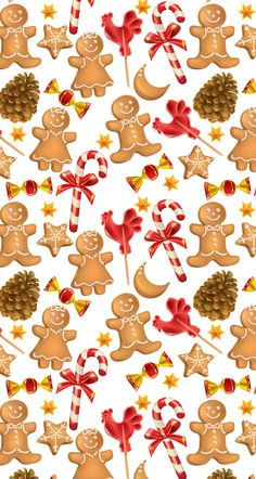 Gingerbread men christmas candy cane