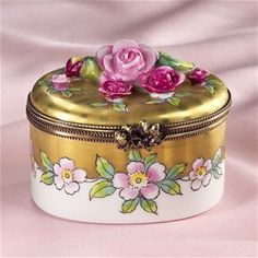 Limoges Gold Box with Roses The Cottage Shop