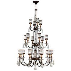 Fine Art Lamps 584840ST Eaton Place Twenty-Light Three-Tier Chandelier with Chan Rustic Iron Indoor Lighting Chandeliers