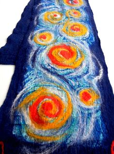 Christmas gift Starry night Felted scarf Handpainted scarf Wet