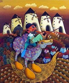 Don Quixote by Guido Vedovato - GINA Gallery of International Naive Art
