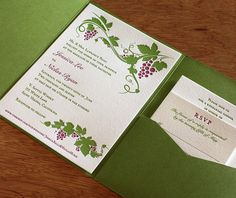 This modern Wine Country wedding invitation is perfect for vineyard-bound brides and grooms.