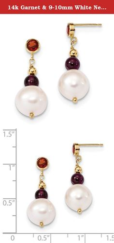 14k Garnet & 9-10mm White Near Round FWC Pearl Leverback Earrings Gem CTW 2.27. Product Description Material: Primary - Purity:14K Finish:Polished Stone Type_1:Pearl Stone Type_2:Garnet Stone Color_1:White Stone Color_2:Red Stone Quantity_1:2 Stone Quantity_2:4 Length of Item:27 mm Feature:Solid Manufacturing Process:Wire Formed Material: Primary:Gold Completeness:Complete (all stones included) Stone Shape_1:Round Stone Treatment_1:Bleaching Stone Treatment_2:Not Enhanced Width of Item:10…
