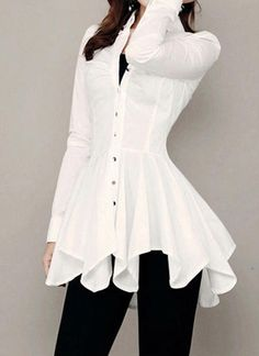 Button Up White Long Sleeve Asymmetric Blouse Trendy Tops For Women, Blouses For Women, Hijab Fashion, Fashion Dresses, Mode Chic, Dress Patterns, Blouse Designs, Trendy Outfits, Dress To Impress