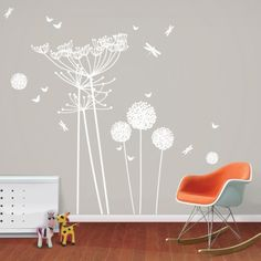 Dandelions & Cowparsley giant wall stickers, white