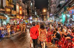 Walking in one of the crowded yet lively roads in Ho Chi Minh, a backpacker's haven.