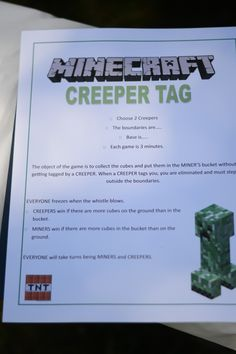 Circle River Creations - Birthday: Minecraft Party :: Minecraft spin off capture the flag! And Minecraft Bingo Minecraft Party Games, Minecraft Crafts, Minecraft Scavenger Hunt, Diy Minecraft Birthday Party, Birthday Party Games, Birthday Fun, Birthday Ideas, 10th Birthday, Sleepover Party