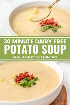 gluten free dairy free This 30 Minute Dairy Free Potato Soup is so creamy and easy to make! Youll be surprised its dairy free, gluten free, and compliant! Soup Recipes, Vegetarian Recipes, Dinner Recipes, Healthy Recipes, Recipies, Healthy Breakfasts, Chili Recipes, Keto Recipes, Cooking Recipes