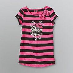 Monster High -Girl's Monster High Striped T-Shirt - Skull