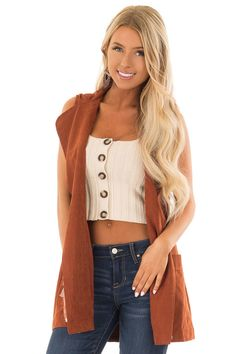 6e5eed3cb953f Rust Hoodie Vest with Drawstring and Pockets. Cropped Tank TopCrop TankTank  TopsBoutique ...