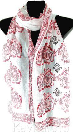 Long cotton scarf, White cotton scarf, Block print scarf by KavitaKriti, $45.00