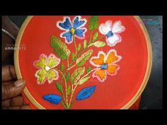 Hand Embroidery Flower Designs Button hole Stitch:by Amma Arts. - YouTube