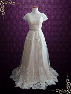Vintage Champagne Lace Wedding Dress with Open Back  Amelia