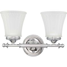 Glomar Lamberta 2-Light Polished Chrome Bath Vanity Light with Frosted Etched Glass