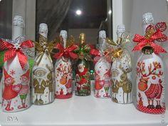 Декор предметов Новый год Свадьба Декупаж Новогодний декупаж Бутылки стеклянные Клей Краска Салфетки фото 1