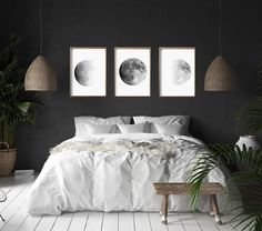 Moon Phase Prints Set of 3 Lunar Phases Black and White Wall art Minimalist Post. - Moon Phase Prints Set of 3 Lunar Phases Black and White Wall art Minimalist Posters Night Sky Conste - Contemporary Bedroom, Modern Bedroom, Modern Wall, Contemporary Art, Bedroom Black, Bedroom Romantic, Bedroom Green, White Bedrooms, Bedroom Rustic