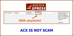 WOWWW Got my 40th payment from AdClickXpress .. :)  Date: 21:46 10.09.15 To Pay Processor Account = U9489027 Amount: 34.85 Currency: USD Batch: 101579929 Memo: API Payment. Ad Click Xpress Withdraw 4406187-148472. Payment ID: 148472    Here is link... Join.. http://www.adclickxpress.com/?r=m5hshz29jwr&p=mx