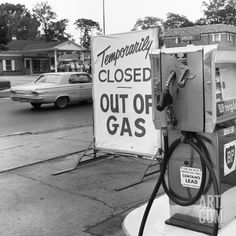 1970s Gas Pump with Temporarily Closed Sign Photographic Print at Art.com