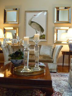 Large Art Work Modern Mirrors Velvet Sofa Crystal Candlesticks MALLORY FIELDS INTERIORS JOHNSON CITY TN