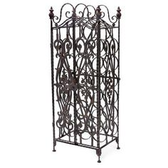 This wine cabinet stores wine bottles on their sides to perfectly preserve your ports and everyday wine indulgences. Its metal frame work and door add a sense of Tuscan style to the piece.
