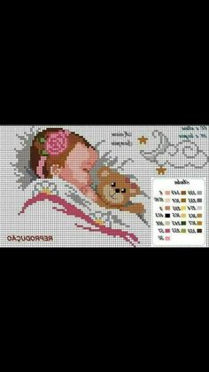 Cross Stitches, Cross Stitch Patterns, Baby Crafts, Decoupage, Crochet, Baby Painting, Cross Stitch, Bebe, Embroidery