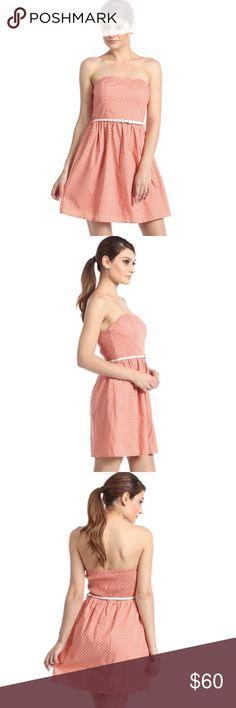 Awesome Party Dresses Polka Dot Smocked Back Strapless Tube Dress Medium Pretty peach and white polka ...