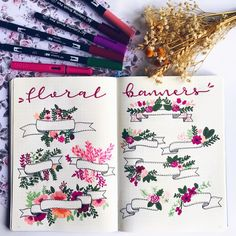 """1,455 Likes, 17 Comments -  Bullet Journal & Beauty  (@lacqueredworld) on Instagram: """" FLORAL BANNERS  .  Make Floral Banners in your Bullet Journal ¡!  . How to draw them, many…"""""""