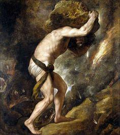 Le supplice de Sisyphe : rouler un rocher au sommet d'une colline, mais ce rocher fini toujours par retomber avant d'atteindre le sommet. Sisyphe aurait dénoncé Zeus pour l'enlèvement d'Egine. Zeus en colère le punit de cette manière. (De Titian)
