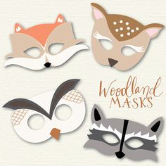 printable woodland masks by SweetBonnieChristine on Etsy, $5.00