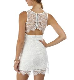 White Lace Fitted Dresses