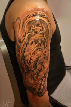 Greek themed arm tattoo by Noah